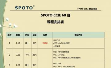 SPOTO CCIE 68班课程安排表