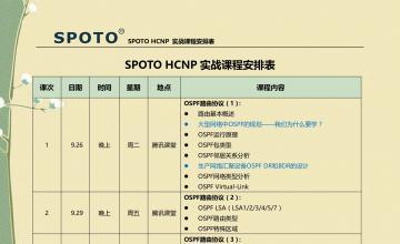 SPOTO 数通   HCNP107课程表