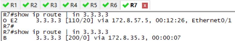 在R5和R7的OSPF路由都会消失