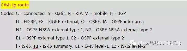 查看路由器 C 的 IP 路由表