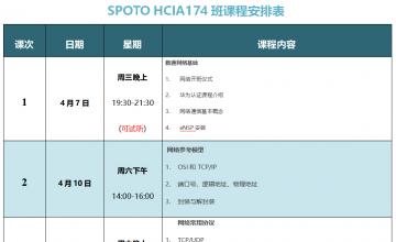 SPOTO DATACOM HCIA174班课程安排表【4月7日】