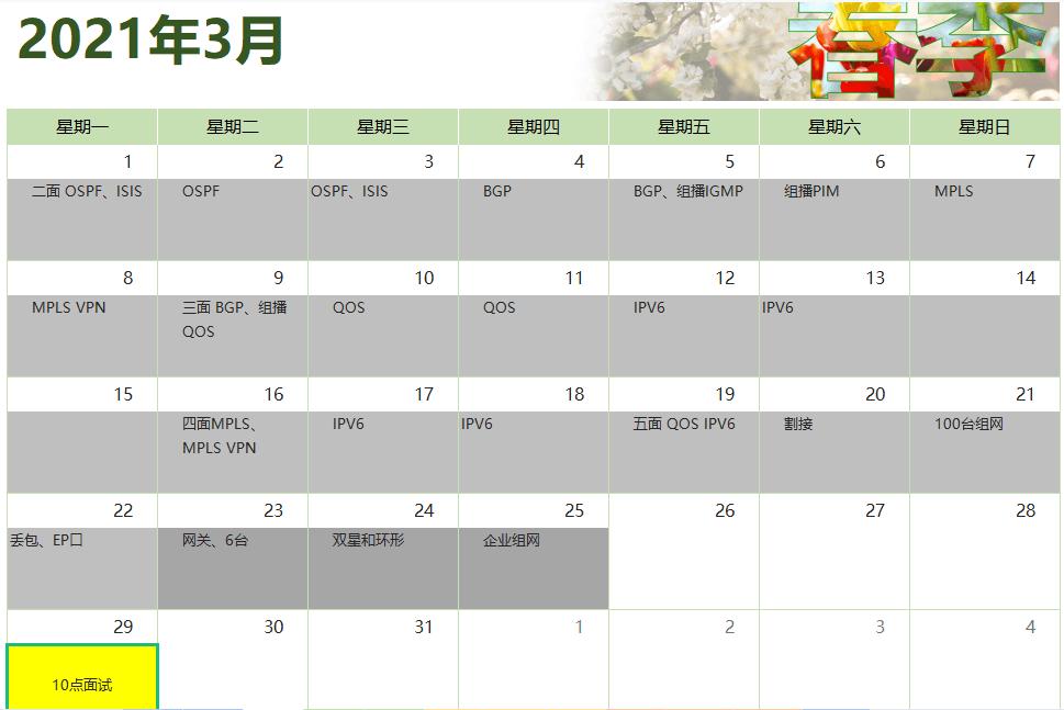 方同学IE面试备考时间计划表