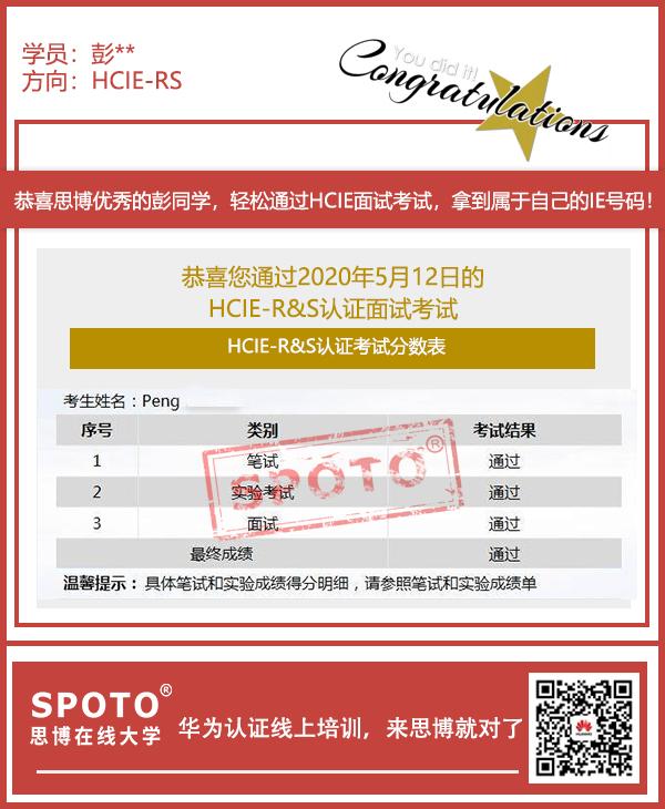 苏州彭海博HCIE证书