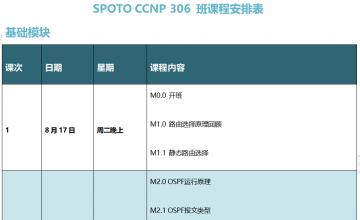 SPOTO EI CCNP 306班课程安排表【8月17日】