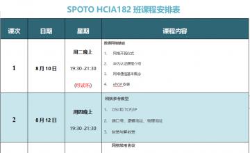 SPOTO HCIA-DATACOM 182课表安排表【8月10日】