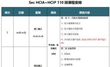 SPOTO Sec HCIA+HCIP 110班课表安排表【11月03日】