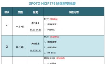 SPOTO HCIP-DATACOM 179课表安排表【11月02日】