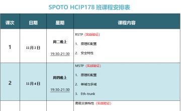 SPOTO HCIP-DATACOM 178课表安排表【11月02日】
